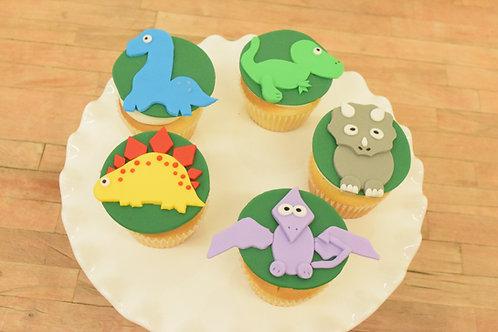 6 Dino Regular Size Cupcakes
