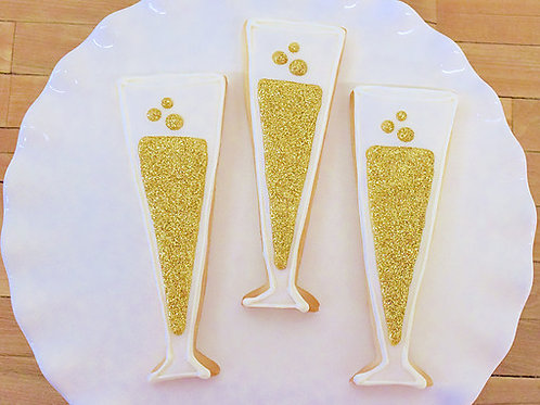 Bridal Shower Cookies, Champagne Glass Cookies, Los Angeles Bakery, Sherman Oaks