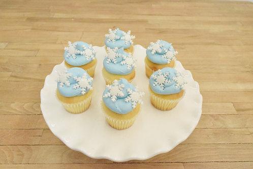 6 Snowflake Miniature Cupcakes (6 per design)