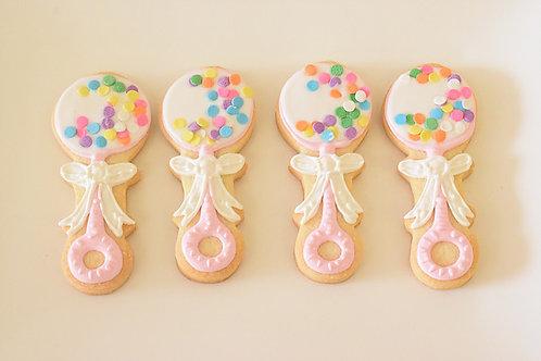 Rattle cookies, Baby Shower Cookies, Baby Girl Shower Cookies,Los Angeles Bakery, Sherman Oaks