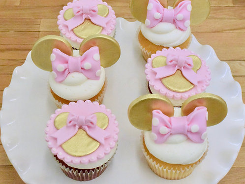 Minnie Mouse Cupcakes Gold and Pink Los Angeles Bakery