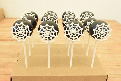 6 Spider Web Cake Pops