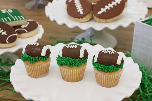 6 Football Miniature Size Cupcakes