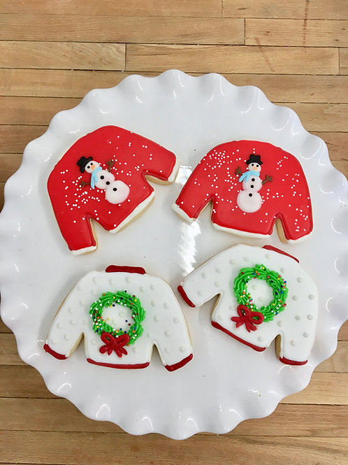 6 Ugly Sweater Cookies (6 per design)