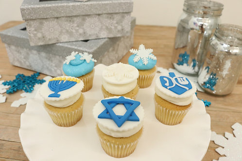 6 Hanukkah Miniature Cupcakes (6 per design)