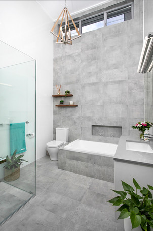 New Home High Ceiling Bathroom