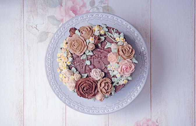 フラワーケーキ教室チョコレートクリーム
