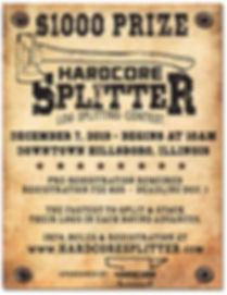 Hardcore Splitter log splitting contest flyer