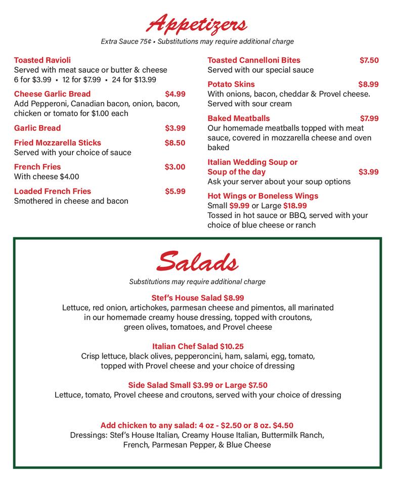 Stef's Pizza Menu - appetizers & salads