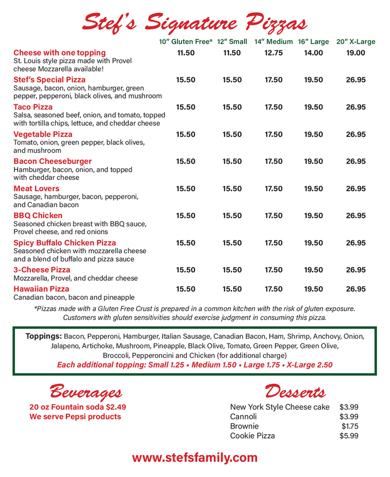 Stef's Pizza Menu - pizzas, beverages & desserts
