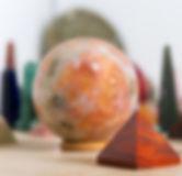 Gemsone sphere and pyramid