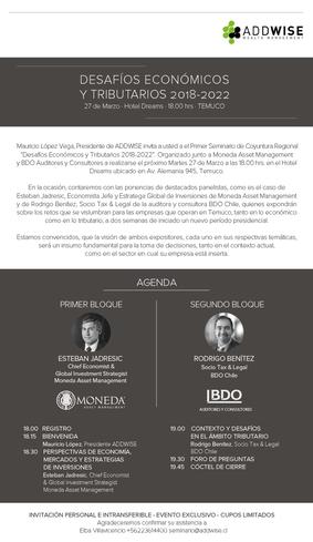Seminario en Temuco: Desafíos Económicos y Tributarios 2018- 2022
