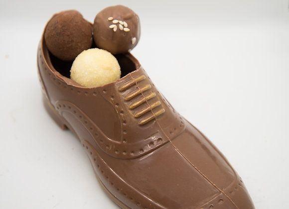 Chaussure homme chocolat lait our noir garni