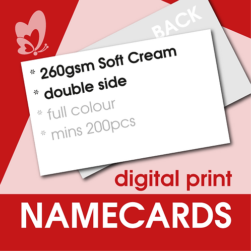 Digital Print Name Cards - 260gsm Soft Cream Card (Double Side)