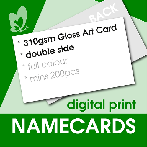 Digital Print Name Cards - 310gsm Gloss Art Card (Double Side)