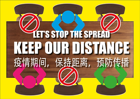 TABLE STICKER FOR SOCIAL DISTANCING