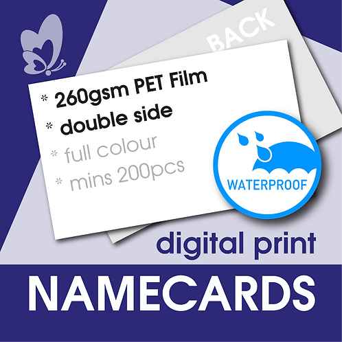Waterproof Name Cards 260gsm - Polyester Film (Double Side)