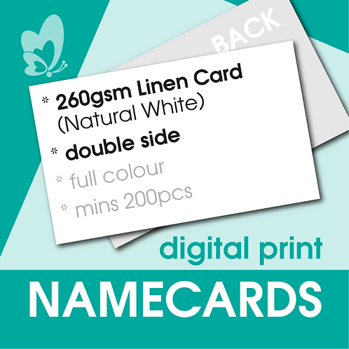 Digital Print Name Cards - 260gsm Linen Natural White Card (Double Side)