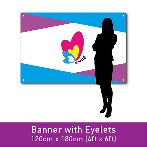 PVC Banner (with Eyelets) - 120cm x 180cm (4ft x 6ft)