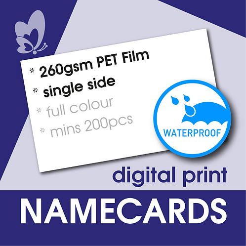 Waterproof Name Cards 260gsm - Polyester Film (Single Side)
