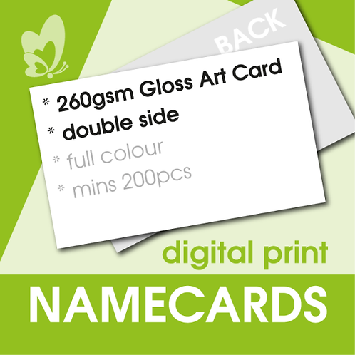 Digital Print Name Cards - 260gsm Gloss Art Card (Double Side)