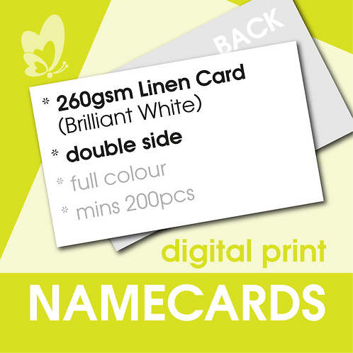 Digital Print Name Cards - 260gsm Linen Brilliant White Card (Double Side)