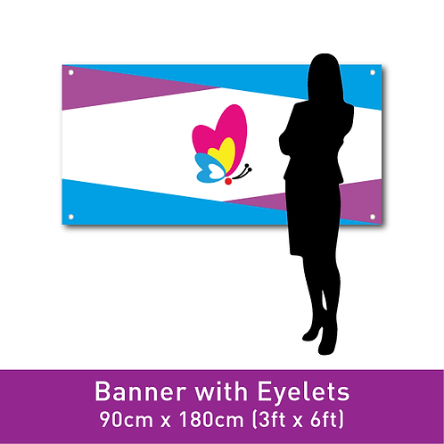 PVC Banner (with Eyelets) - 90cm x 180cm (3ft x 6ft)