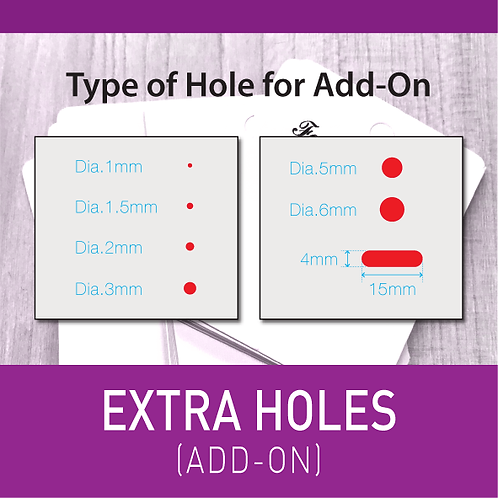 Additional Holes for Jewellery Cards (per 100pcs)