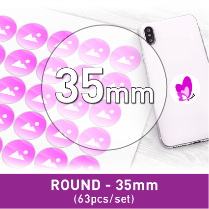 Label Sticker - Circle 35mm (63pcs)