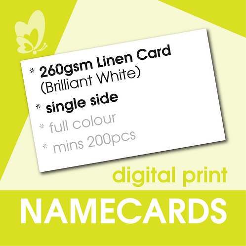 Digital Print Name Cards - 260gsm Linen Brilliant White Card (Single Side)