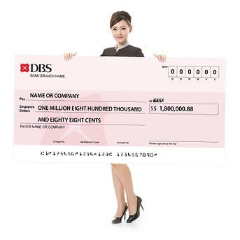 Mockup cheque model with DBS cheque (art