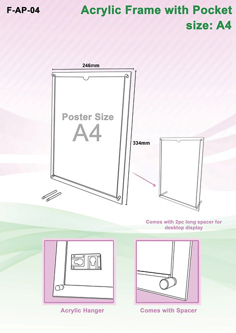 Acrylic Frame (Pocket) A4