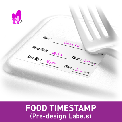 FOOD TIMESTAMP LABELS - 55x35mm (50pcs/set)