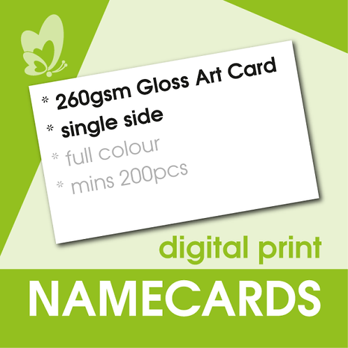 Digital Print Name Cards - 260gsm Gloss Art Card (Single Side)