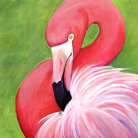 Preening Flamingo - SOLD
