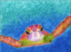 Hawksbill sea turtle painting