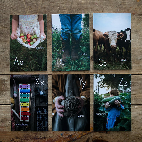 The Hobbs Farm alphabet cards