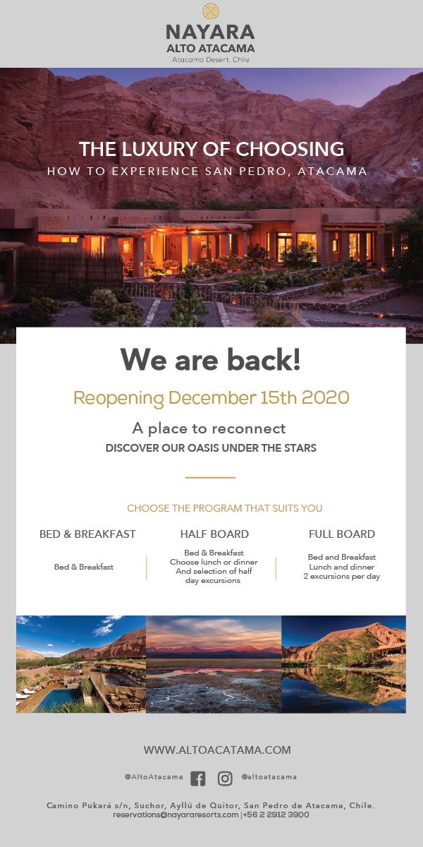 Nayara Alto Atacama Re-Opens December 15th