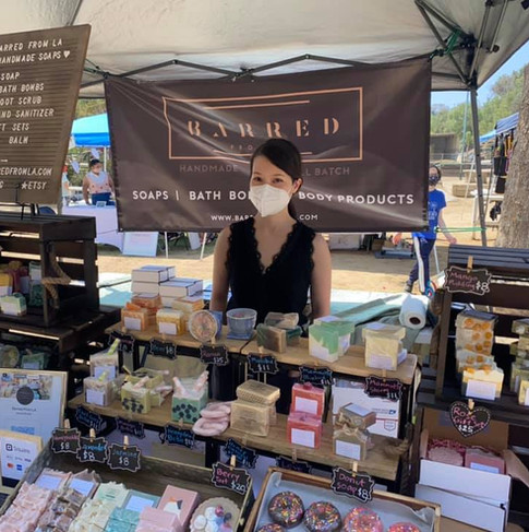 Joanna Leung from Barred from LA with her pretty display at our May 2021 Craft Market