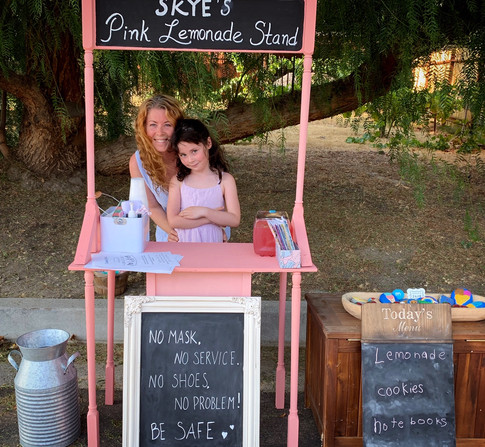How we started...A pink lemonade stand to raise money to buy chicken feed for her baby chicks so she could launch her own egg business.