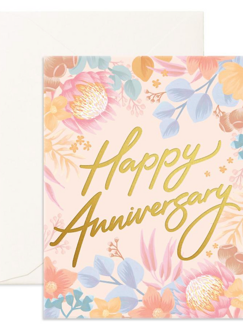 Happy Anniversary Floribunda Greeting Card