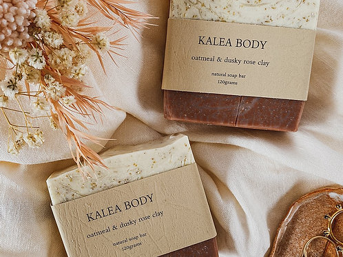 Kalea Body Oatmeal and Dusky Rose Clay Natural Handmade Soap