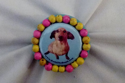 Wiener Dog Ring with Pink and Yellow Beads