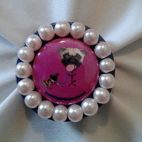 Pug Ring with Light Pink Pearls