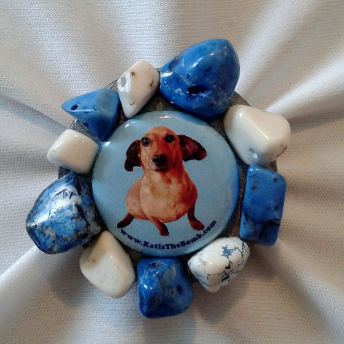 Wiener Dog Ring with Blue and White Stones