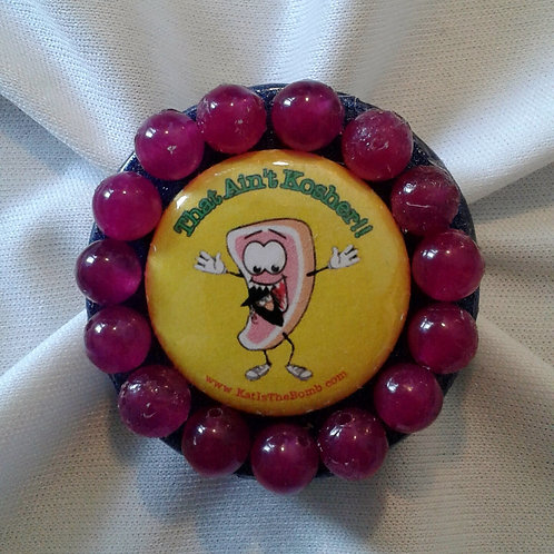 Porkchop Ring with Magenta Beads