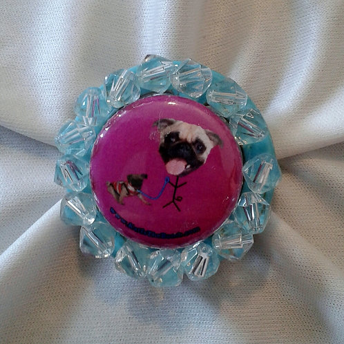 Pug Ring with Clear Faceted Beads