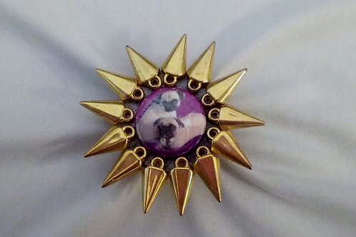 Pugasaurus Ring with Spikey Gold Beads