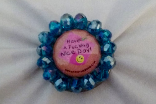 Nice F-ing Day Ring w/ Blue Faceted Beads