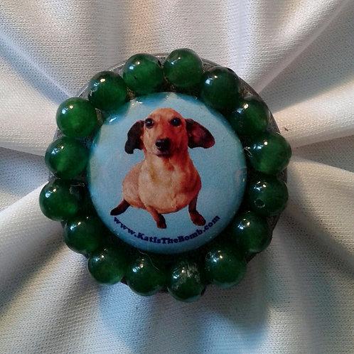 Wiener Dog Ring w/ Green Beads